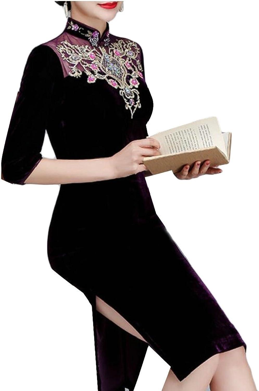 WSPLYSPJY Women's Velvet Print Short Sleeve Cheongsam Dresses Qipao