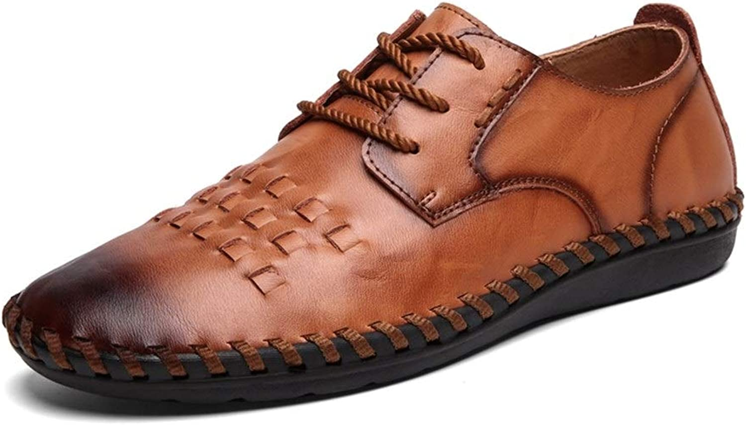 Easy Go Shopping Oxford shoes For Men Formal shoes Lace Up OX Leather Light And Flexible shoes Cricket shoes (color   DarkBrown, Size   8.5 UK)