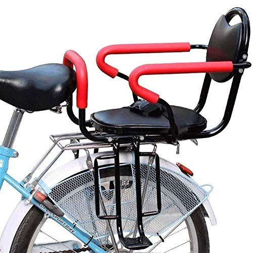 Back Child Seat for Adult Bike with Cushion & Backrest Foot Pedals/Armrest and Detachable Fence Easy to Use and Installation for 2-6 Year Old Child Seat