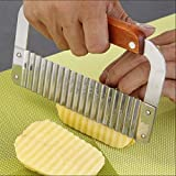 Crinkle Potato Cutter, Wavy Chopper Knife, Upgraded Stainless Steel Blade, Safe Kitchen Tools Wavy Slicer for Fruit, Vegetable, Carrot, Potato
