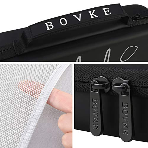 BOVKE Travel Carrying Case for 3M Littmann Classic III, Lightweight II S.E, MDF Acoustica Deluxe Stethoscope - Extra Room for Medical Bandage Scissors EMT Trauma Shears and LED Penlight, Black