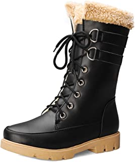 KemeKiss Women Fashion Mid Cald Warm Faux Fur Riding Boots