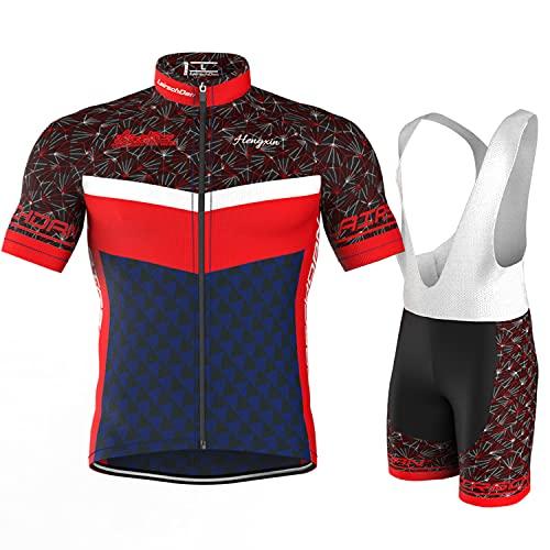 COMEIN Maillot Ciclismo Corto De Verano para Hombre, Ropa Culote Conjunto Traje Culotte Deportivo con 9D Almohadilla De Gel para Bicicleta MTB Ciclista Bici (Rojo Azul, XL)