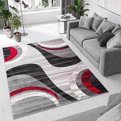Tapiso Dream Alfombra de Salón Cuarto Juvenil Diseño Moderno Negro Gris Rojo Ondas Moteado Fina Suave 200 x 300 cm
