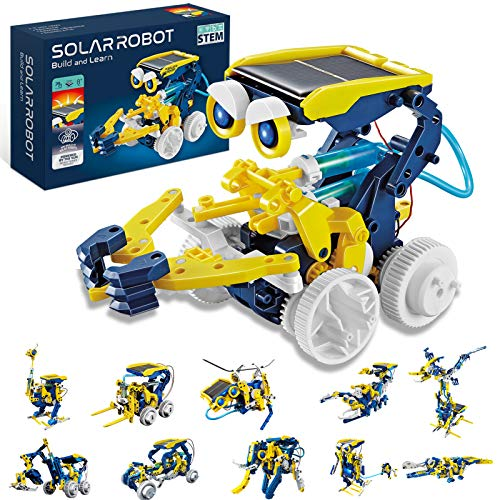HOMOFY STEM Toys Solar Robot Kit 11-in-1 Educational Science Kits Toys Learning Science Building Toys STEM Toys Robot Powered by Solar Robot Science Kit for Kids 8 9 10-12 Year Old Boys Girls Gifts