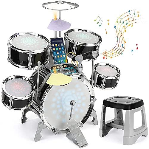 HnF Set di Tamburo Jazz per Bambini, playset Percussion con Microfono Sound Chiaro, Kit di Strumenti educativi, Giocattolo Regalo Musicale, Telefono Cellulare Compatibile/Computer / MP3