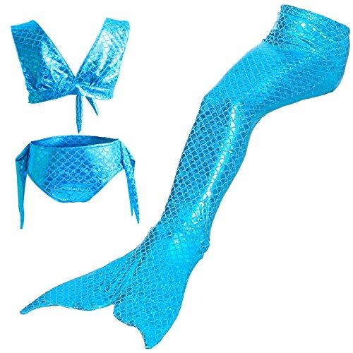 Starjerny 3PS Mädchen Cosplay Kostüm Badenbkleidung Meerjungfrauen Schwimmanzug Badeanzüge Meerjungfrauenschwanz für Schwimmen Kinder Farbewahl, Blau, 140cm (12-13 Jahre)
