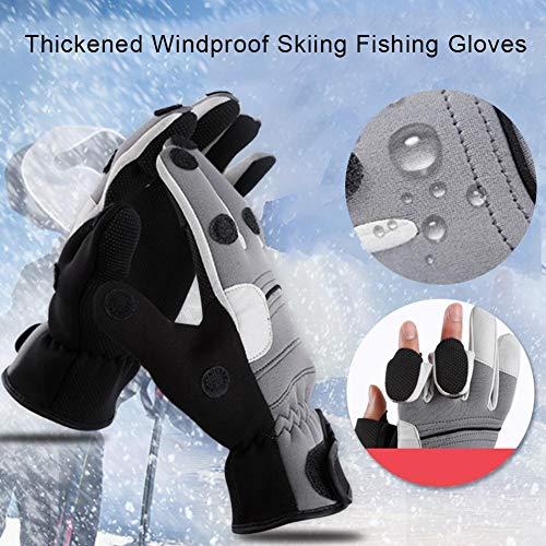 Awhao Warme wasserdichte Handschuhe für Männer mit 3 Fingern Rutschfeste und winddichte Handschuhe Fäustlinge für Fotografie Radfahren Reiten Skifahren und Winter im Freien