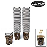 100 Pack Quality Disposable Paper Hot Coffee Cups, Perfect For Hot Drinks Tea & Coffee, Coffee Shops And Bars (8 oz)