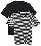 Amazon Essentials 2-Pack Loose-Fit V-Neck T-Shirt Fashion-t-Shirts, Black-White Stripe/Black, M, Pack de 2