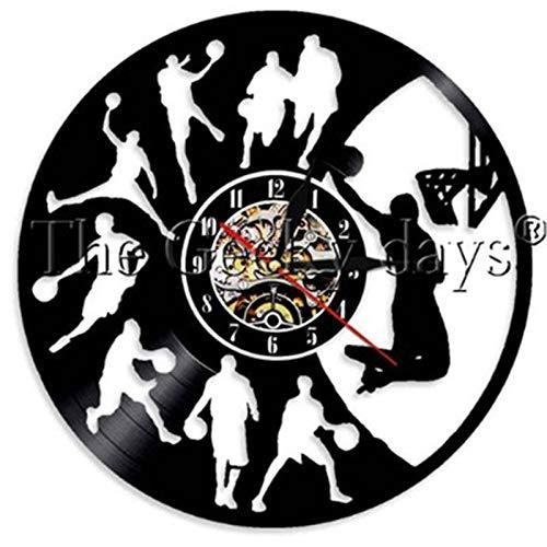 Njuxcnhg Basketball Vintage Vinyl Record Wall Clock Basketball Jump Slam Dunk Shot Sports Clcoks Wall Watch Gifts for Basketball Player