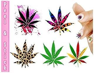 Pot Leaf Marijuana Mix Weed Nail Art Decal Sticker