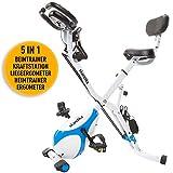 skandika Foldaway X-3000 - Vélo d'appartement x-Bike Pliant - 8 Niveaux de Resistance - Dossier/Bluetooth (Blanc/Bleu)