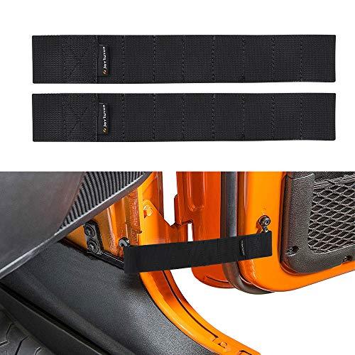 JoyTutus Door Limiting Straps Compatible with Jeep Wrangler, 2 Pack Updated Heavy Duty Strong Adjustable Door Limiting Check Strap for Jeep Wrangler CJ YJ TJ JK JKU JL JLU 1996 to 2020 Load 1000 Lb