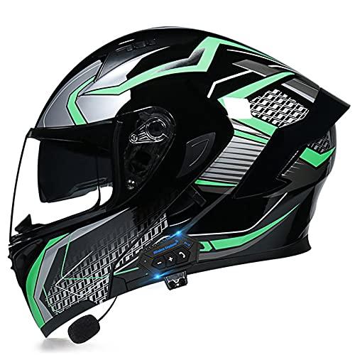 HOMFLOW Casco Moto Modular Bluetooth Integrado con Doble Anti Niebla Visera Cascos Motocicleta Prueba Viento para Adultos Hombres Mujeres ECE/Dot Homologado (Color : C, Size : XXL/XX-Large 63-64cm)