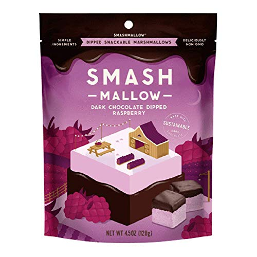 Smash Mallow Dark Chocolate Dipped Raspberry Marshmallows 4.5oz Bag Non GMO, Gluten Free & Sustainable