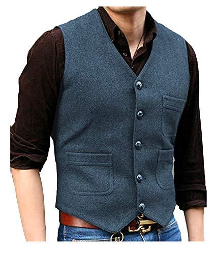 LoveeToo Herren Anzug Weste mit V-Ausschnitt Wolle Herringbone Tweed lässige Weste Formale Business Weste für Hochzeit (XL,Marine-01)