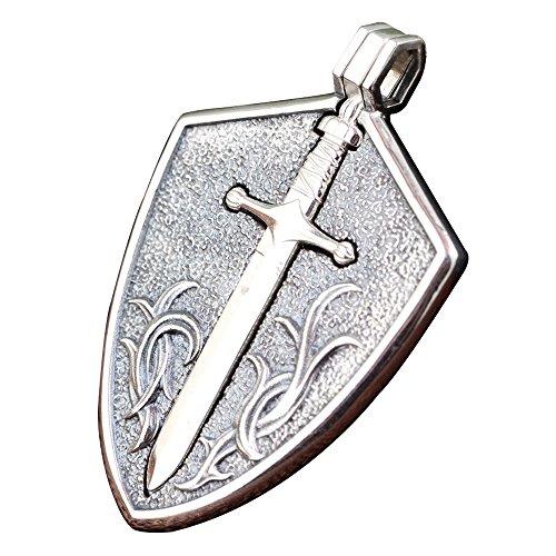 FORFOX Vintage 925 Sterling Silber Schwert Schild Halskette Anhänger Schmuck für Herren