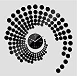 YHZY Cuarzo Decoración para El Hogar Aguja De Agua Espejo De Acrílico Moderno Reloj De Pared Pegatinas Papel Pintado Relojes De Bricolaje-Negro