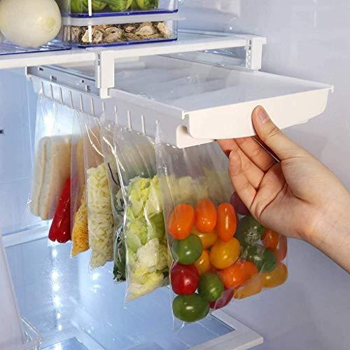 Duyifan Organizador de Bolsas con Cremallera cajón de Cocina, Living Organizador de Bolsas con Cremallera para frigorífico congelador,Soporte con Cierre hermético, Blanco