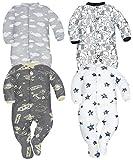 Sibinulo Nino Nina Pijama Bebé Pelele de Algodón Pack de 4 Nubes Cosmos Elefantes Negros y Estrellas 62(0-3 Meses)