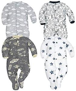 Sibinulo Nino Nina Pijama Bebé Pelele de Algodón Pack de 4 Nubes Cosmos Elefantes Negros y Estrellas 56(0-3 Meses)