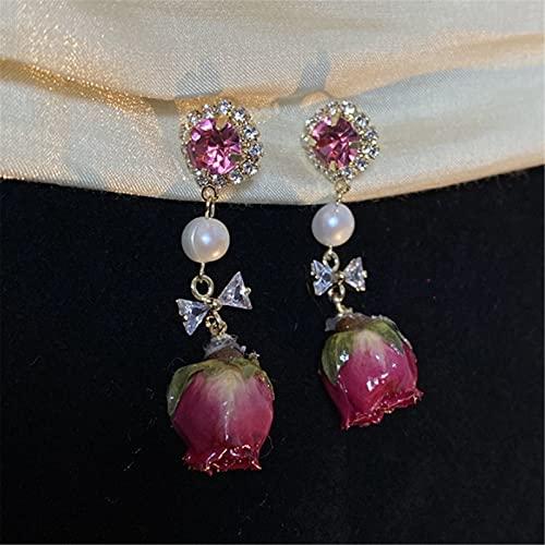 Miugwp Pendientes Colgantes de Flor Rosa Simulada, Pendientes de Gancho Colgantes de Flor Eterna Romántica para Mujer Novia Cumpleaños Navidad Regalo San Valentín