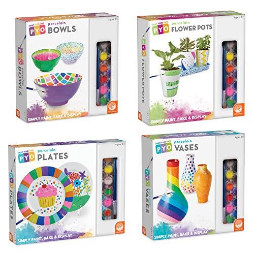 MindWare Paint Your Own Porcelain: Set of 4 Gift Kits for Kids - Plates (2 Plates), Bowls (3 Bowls), Vases (3 vases) & Flower Pots (3 pots) with Paints & Brush - Creative paintable Pottery Crafts