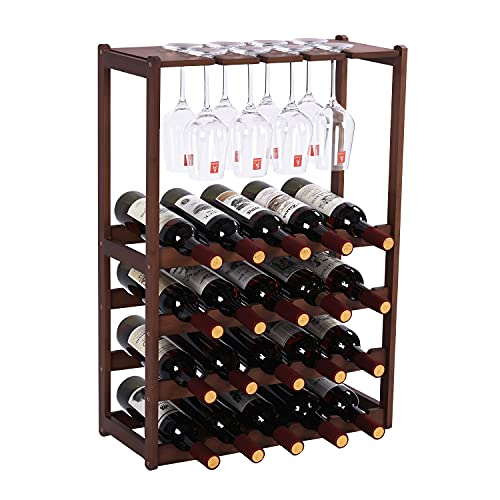 Wine Rack Free Standing 20 Bottles with 8 Glasses Holder,Bamboo Wine Storage Shelf for Home Kitchen Pantry Wine Cellar Organizer Display Stand for Wine Lover