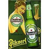 CrystalB Heineken Plaque Murale en métal pour Bar, pub, Garage, décoration Murale Vintage 30 × 20 cm