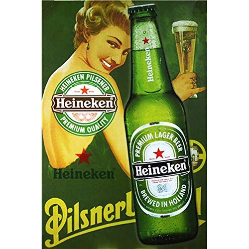 CrystalB Heineken - Metal Poster with English Text Beer for Bars, Pubs, garages, Wall decoration, Beer decoration, 30 x 20 cm