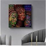 Zhaoyangeng Tatuaje de mujeres étnicas africanas   Cara, pintura de retrato, carteles y grabados, arte de pared de artículos para el hogar, decoración de pared de 50 x 50 cm sin marco