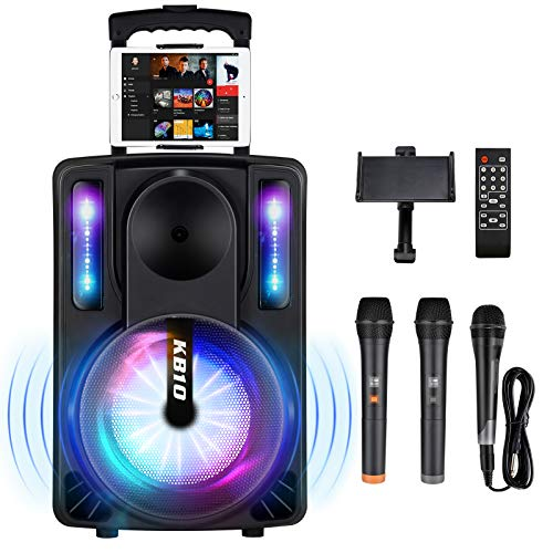 Karaoke Machine for Kids & Adults, SEAPHY DJ Lights 10'' Woofer BT Connectivity Rechargeable PA System-Audio Recording, Remote/2 Wireless/1 Wired Microphone