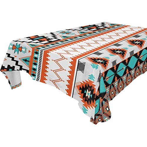 LUCKYEAH Ethnic Aztec Geometric Table Cloth Washable Square Table Cover Polyester Tablecloths Rectangular for Indoor Patio Kitchen Picnic Outdoor, 54x54inch