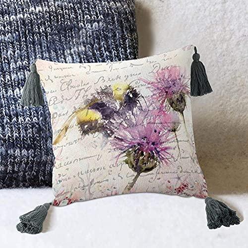 Honeybee Gather Honigblume Pflanze Spring Bee Wildflower Bumblebee Kissenbezug für Couch Sofabett-White-style1 10