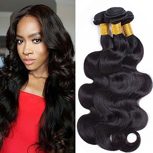 Tissage Bresilien Meche Bresilienne Extension Cheveux Naturel Ondule Noir - 3 PCS (300g) - Longueur: 22\