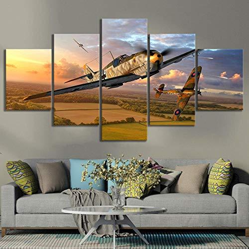 GTRB 5BilderLeinwanweniger Gemälde Militär Poster Flugzeug Bild World of Warplanes Videospiele Kunst Leinwand Ölgemälde Wandkunst Home Decor5 Drucke auf Leinwand