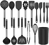 Silikon Kochgeschirr Set, Küchengerät 13 Stück Küchenhelfer Set, Antihaft Hitzebeständiger Silikonspatel Set, Küchenutensilien mit Edelstahlgriff (Schwarz)