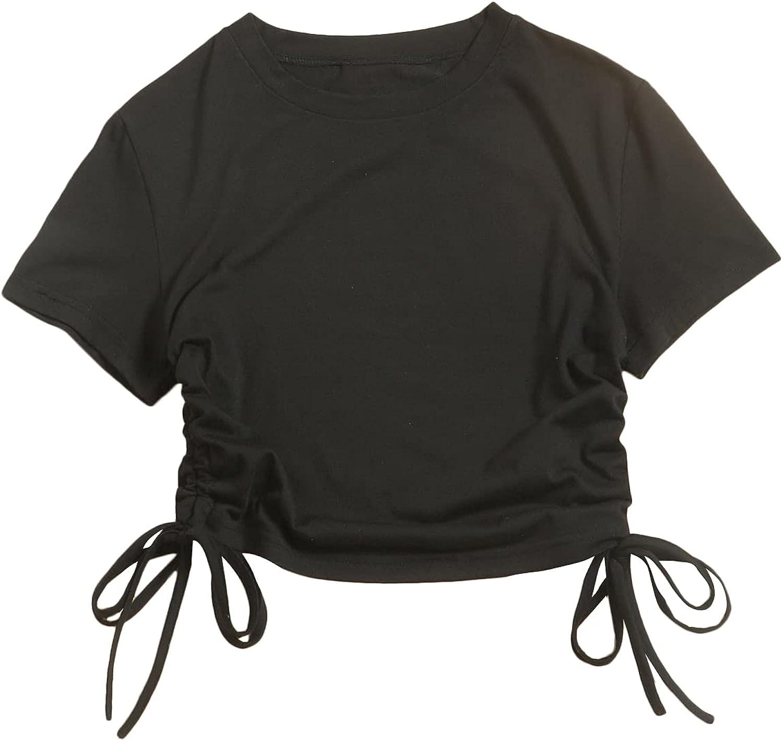 Floerns Women's Plus Size Drawstring Side Short Sleeve Round Neck Tee Shirts
