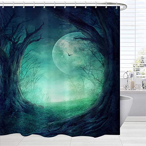 Fantasy Fabric Bathroom Shower Curtain Fairy Forest Tree Mystical Full Moon Enchanted Nature product image