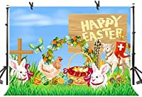 Zhyイースターのバニーの背景7X5FT草の卵のウサギの羊の写真の背景のスタジオの小道具770