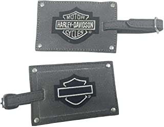 Harley-Davidson Bar & Shield Belted Luggage Tags, Gray Leather 99301-GRAY