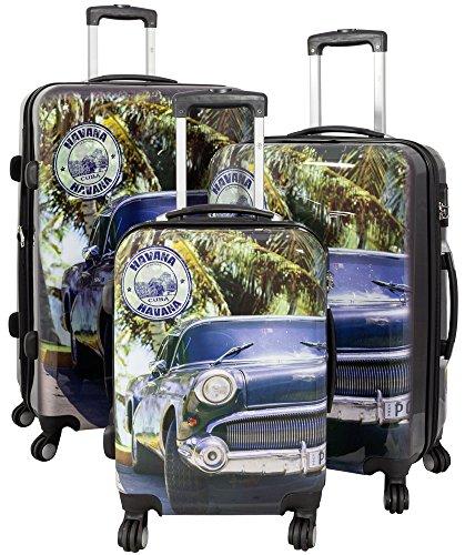 Trendyshop365 Hartschale Koffer-Set Kuba Auto 3-teilig Bunt