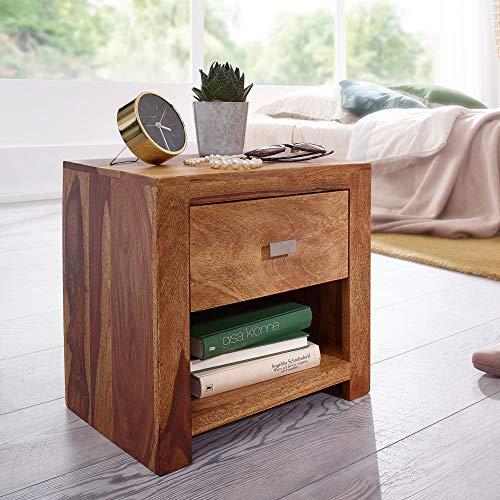 FineBuy Nachttisch aus Sheesham Massiv-Holz 40 x 40 x 30 cm | Nacht-Kommode braun mit 1 Schublade und 1 Ablagefach | Nachtschrank Landhaus-Stil Echt-Holz