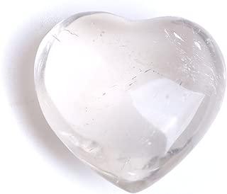 OCN-HEALING Natural Healing Clear Crystal Heart Rock Gemstone White Quartz Stone Carved Peaceful& Romantic Love Heart