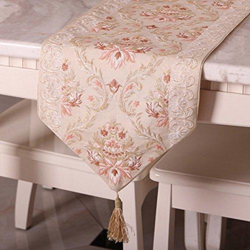 Europeo Qualità Lusso Ricamato Table Runner Elegante Soggiorno Tavolino Panno Tovaglia Jin Hao-B 33x210cm(13x83inch)