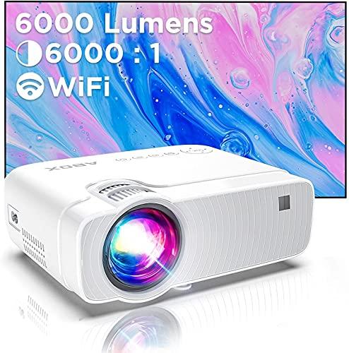 Proiettore Wifi, Mini Videoproiettore Portatile, Luminosità 6000, Supporta 1080p Full HD 300'', ABOX Proiettore Wifi Compatibile Android,Laptop,PS4,Mac, Ideale per Home Cinema