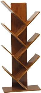 Xi Man Shop scaffale di bambù Scaffale per Libri in Legno Pavimento in Piedi Muro del Libro di Biblioteca portariviste da Terra Quattro Strati (Color : Brown)