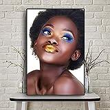 N / A Arte Africano Mujeres Carteles e Impresiones Pintura al óleo en la Sala de Arte de la Pared Pintura Pintura sin Marco 50cmX75cm