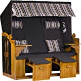 WEBAVITA - Strandkorb Ostsee XXL | Komplettset | 3 Sitzer | Bausatz | Geflecht: Anthrazit, Bezug: Uni/Beige Gestreift | Vollieger